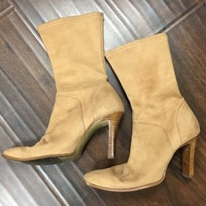 Faux tan suede boots-size 6